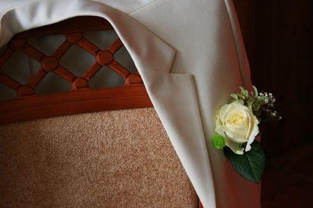 bridegrooms: Bridegrooms jacket on a chair Stock Photo