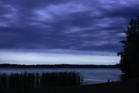 Night at the Finnish lake photo