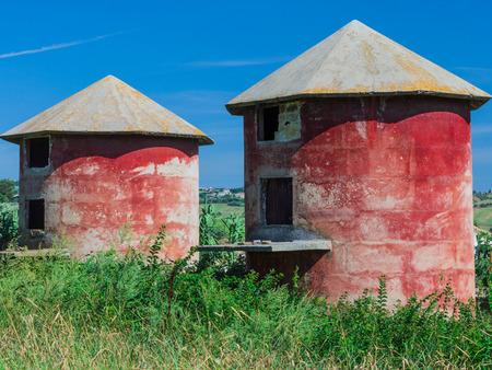 a couple of rural silos