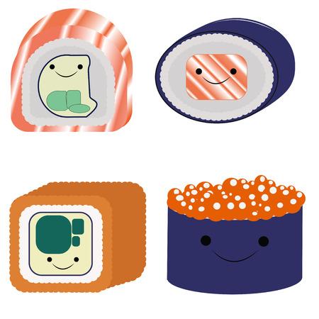 cute sushi set Illustration