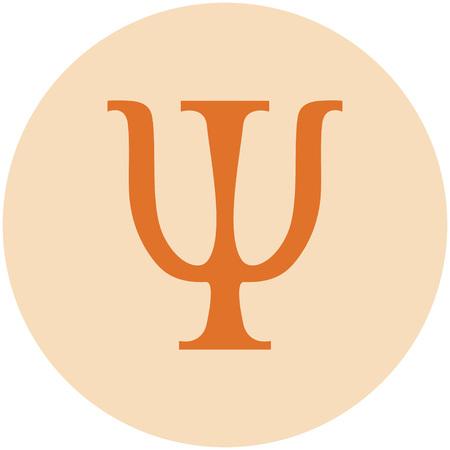 sign of psychology in the orange circle Ilustracja