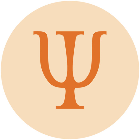 sign of psychology in the orange circle Illustration
