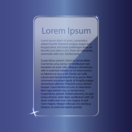 Mocap: glass transparent frame for text on a blue gradient background.