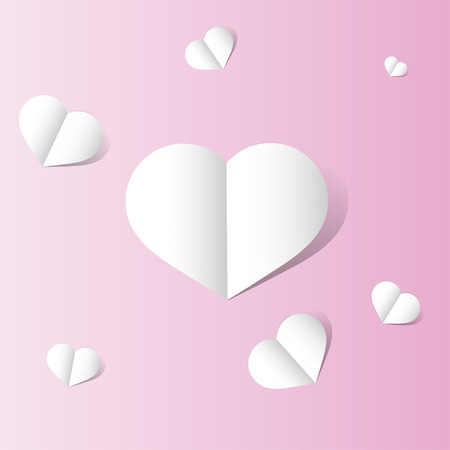A postcard for Valentine's day, a few hearts on a pink background 向量圖像