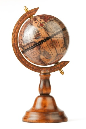 The vintage globe, separately on a white background Stock Photo