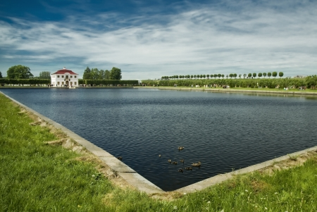 Pond in the old manor house  Peterhof  photo
