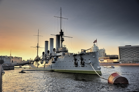 Linear cruiser Aurora, the symbol of the October revolution in Russia  Editorial