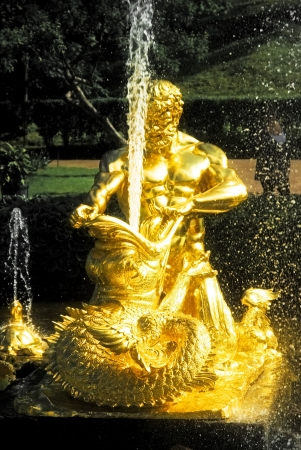 sea monster: Fountain  Triton, tearing the jaws of the sea monster , Peterhof Stock Photo