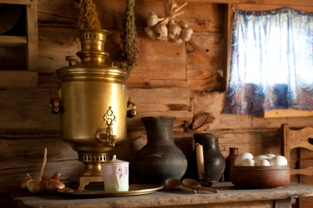 Country Still Life with a Samovar. photo