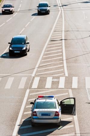The car traffic police on duty service raddilitelnoy line highway