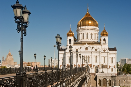 Bridge going to the Patriarchal Cathedral of Christ the Savior in Moscow photo