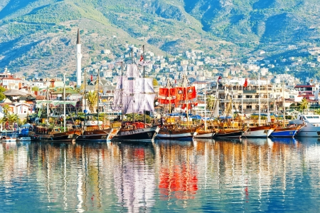 dinghies: Dinghies on the waterfront of the city of Alanya