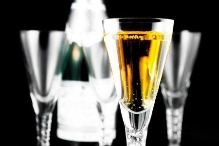 Champagne Flutes and Bottle on Black
