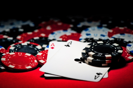 poker cards: Pair of aces and poker chips Stock Photo