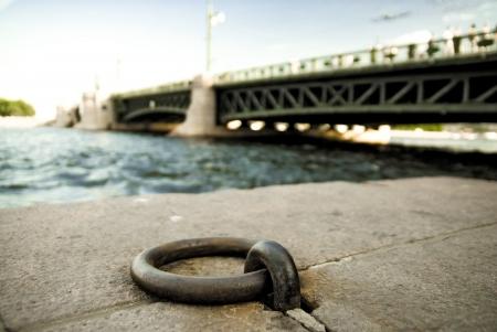Mooring ring on stone embankment of the Neva river  St  Petersburg