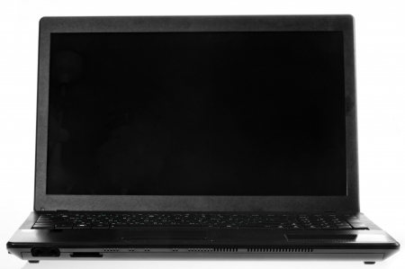 Black laptop open on a white background. Stock Photo - 17170494