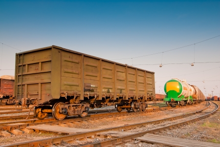 freight wagon on railroad tracks Stock Photo
