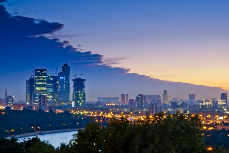 Evening Moscow City, widok z Sparrow Hills