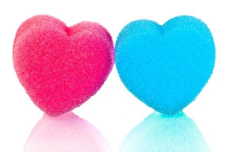 fetishes: Two hearts of blue and pink lips on a white background