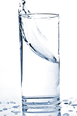water drink: water splash in a glass Stock Photo