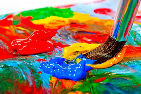 Art brush mixed paint on the palette Stockfoto