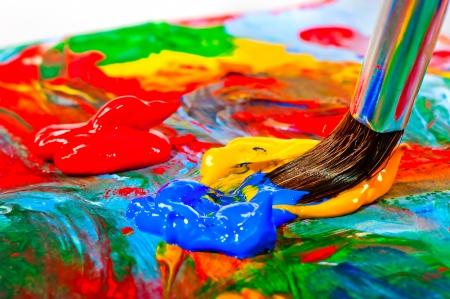 Art brush mixed paint on the palette Stock Photo