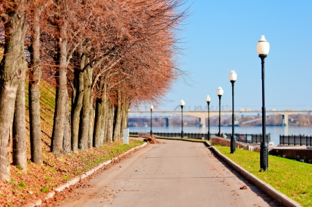 Pedestrian sidewalk along the banks of the River Volga  photo
