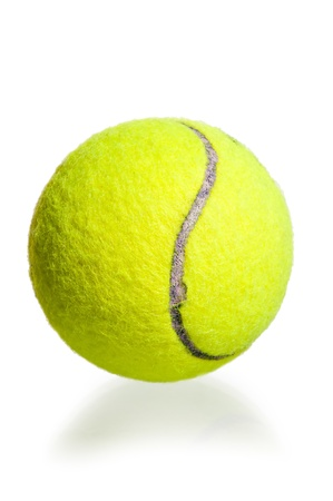 yellow ball for the game of tennis on a white background Stock Photo