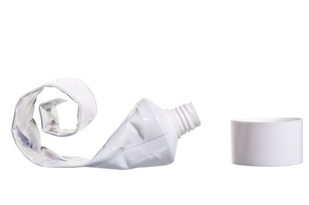 empty cosmetic tube with the lid open on a white background Stockfoto