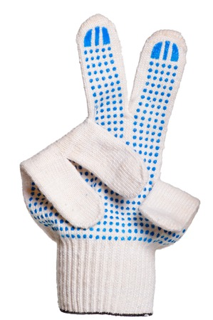 nonslip: cotton gloves, non-slip shows a victory sign Stock Photo