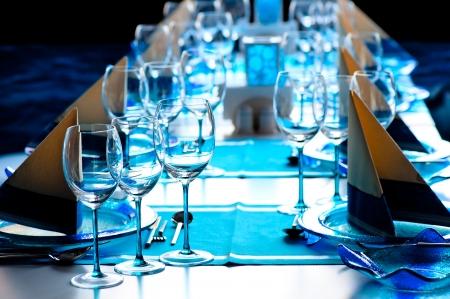 beautifully set table at a fish restaurant