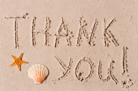 word of thank you to the wet sand or seashells photo