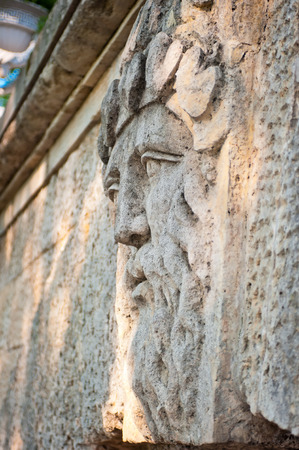 face of a man with a beard carved in stone photo