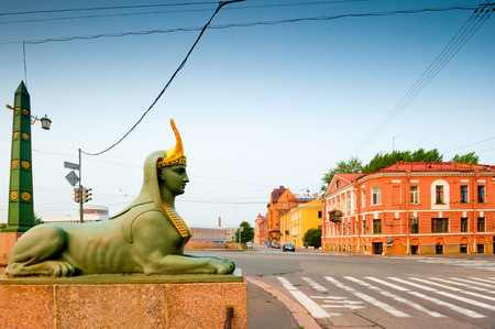 Egyptian sphinx sculpture on the bridge of the city of St. Petersburg photo