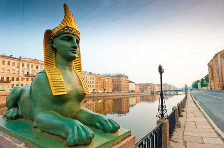 Egyptian sphinx and the Neva embankment in Petersburg photo
