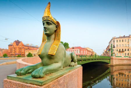 cityscape of St. Petersburg, the bridge and the Sphinx photo