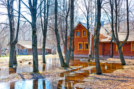 spring flooding in the Russian village photo