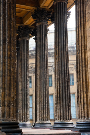 beautiful colonnade of the Kazan Cathedral in St  Petersburg Stock Photo