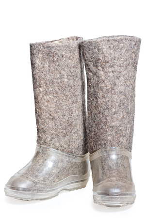 traditional Russian felt boots with galoshes