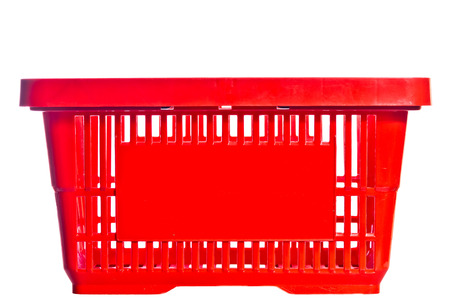empty basket: empty red basket from the supermarket Stock Photo