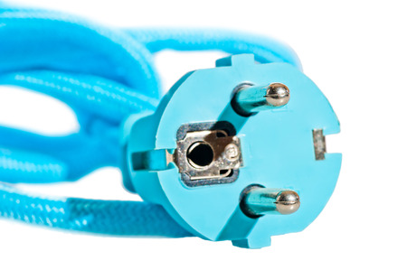 blue electric plug on a white background