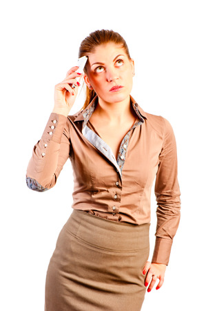 comely: comely woman with the phone thought Stock Photo