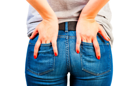 female ass: female ass in jeans with pockets