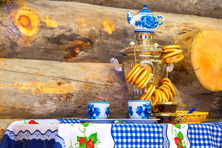 traditionally russian: traditionally shining Russian samovar on the table Stock Photo