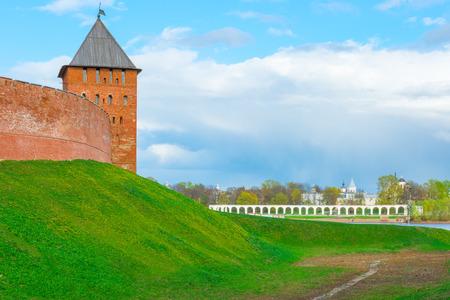 veliky: Kremlin tower and the view of YaroslavDvorische  Veliky Novgorod Stock Photo