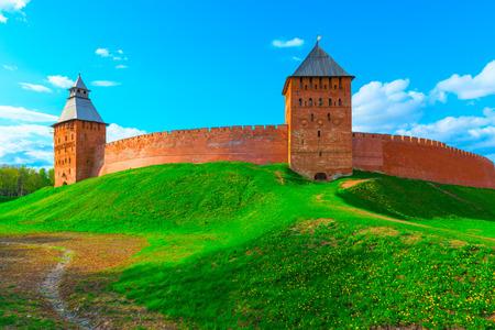 novgorod: beautiful panorama of the walls of Novgorod Kremlin Stock Photo