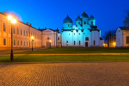 novgorod: Night Scene Architecture Novgorod Kremlin