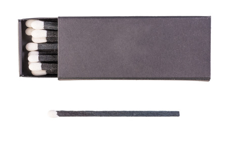 Black matches with white sulfur isolated photo