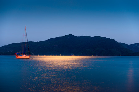 moonwalk: bright light of the moon illuminates the sea surface Stock Photo