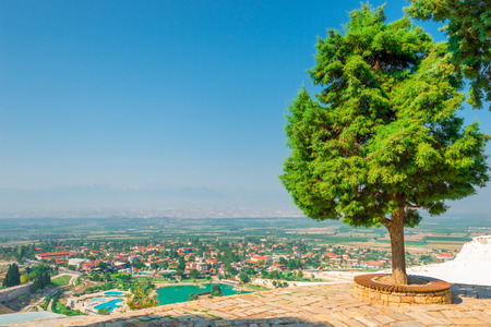 lush trees on the hill Pamukkale and city views Stock Photo